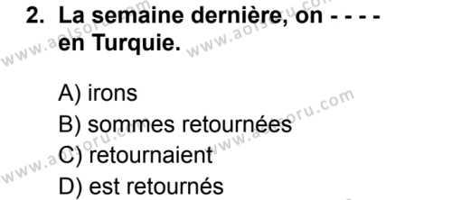 Fransızca 7 Dersi 2019 - 2020 Yılı 2. Dönem Sınav Soruları 2. Soru