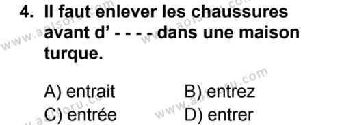 Fransızca 7 Dersi 2019 - 2020 Yılı 2. Dönem Sınav Soruları 4. Soru