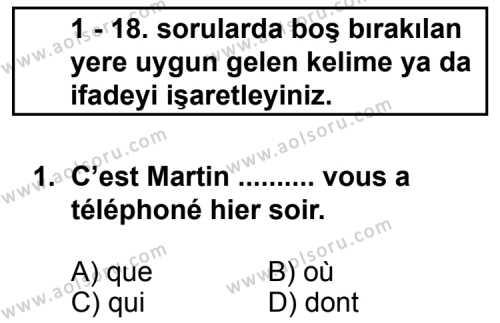 Fransızca 8 Dersi 2011-2012 Yılı 1. Dönem Sınavı 1. Soru