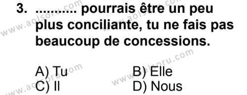 Fransızca 8 Dersi 2011 - 2012 Yılı Ek Sınav Soruları 3. Soru