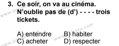 Fransızca 8 Dersi 2014 - 2015 Yılı Ek Sınav Soruları 3. Soru