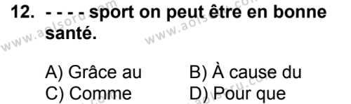 Fransızca 8 Dersi 2018-2019 Yılı 1. Dönem Sınavı 12. Soru