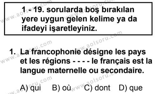 Fransızca 8 Dersi 2019 - 2020 Yılı 1. Dönem Sınav Soruları 1. Soru