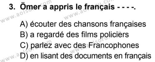 Fransızca 8 Dersi 2019-2020 Yılı 1. Dönem Sınavı 3. Soru