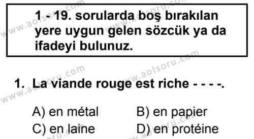 Fransızca 8 Dersi 2019 - 2020 Yılı 2. Dönem Sınav Soruları 1. Soru