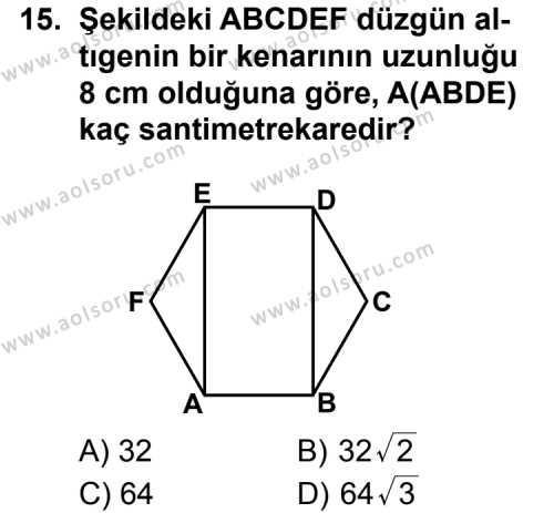 Geometri 1 Dersi 2011-2012 Yılı 1. Dönem Sınavı 15. Soru