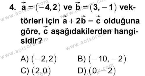 Geometri 1 Dersi 2011 - 2012 Yılı Ek Sınav Soruları 4. Soru