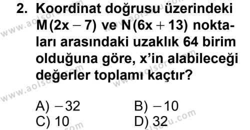 Geometri 1 Dersi 2012 - 2013 Yılı 1. Dönem Sınavı 2. Soru
