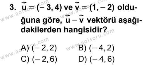 Geometri 1 Dersi 2012 - 2013 Yılı 1. Dönem Sınavı 3. Soru