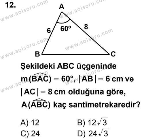 Geometri 1 Dersi 2012-2013 Yılı 1. Dönem Sınavı 12. Soru