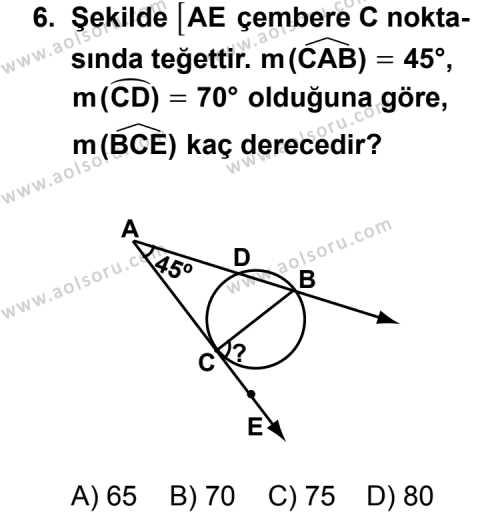 Geometri 2 Dersi 2011-2012 Yılı 1. Dönem Sınavı 6. Soru