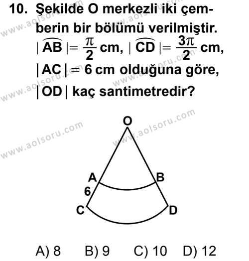 Geometri 2 Dersi 2011-2012 Yılı 1. Dönem Sınavı 10. Soru