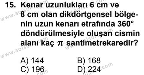 Geometri 2 Dersi 2011-2012 Yılı 1. Dönem Sınavı 15. Soru