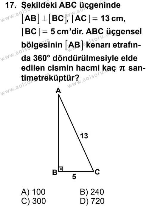 Geometri 2 Dersi 2011-2012 Yılı 1. Dönem Sınavı 17. Soru