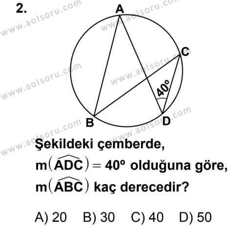 Geometri 2 Dersi 2011 - 2012 Yılı Ek Sınav Soruları 2. Soru