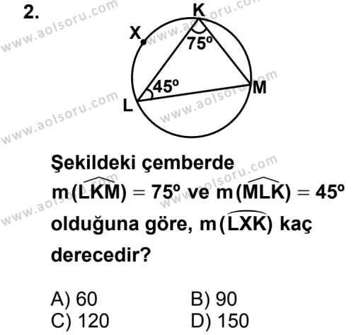 Geometri 2 Dersi 2012 - 2013 Yılı 1. Dönem Sınav Soruları 2. Soru