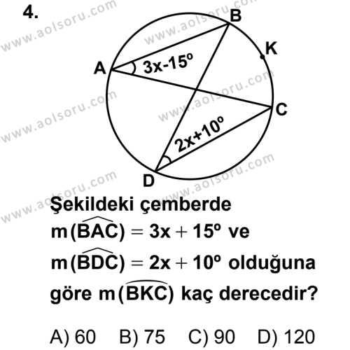 Geometri 2 Dersi 2012-2013 Yılı 1. Dönem Sınavı 4. Soru