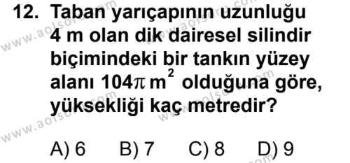 Geometri 2 Dersi 2012-2013 Yılı 1. Dönem Sınavı 12. Soru
