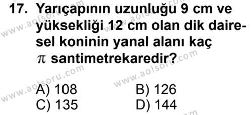 Geometri 2 Dersi 2012-2013 Yılı 1. Dönem Sınavı 17. Soru