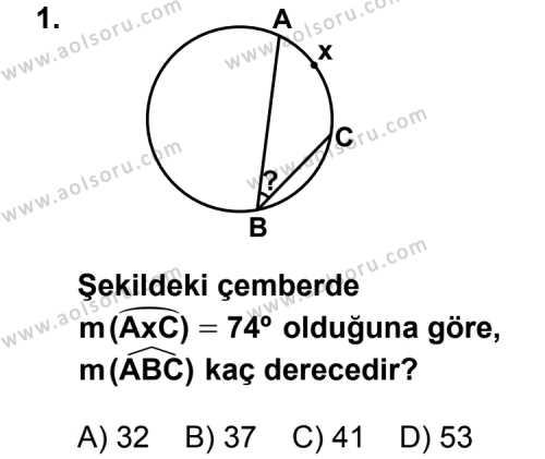 Geometri 2 Dersi 2012 - 2013 Yılı 2. Dönem Sınavı 1. Soru