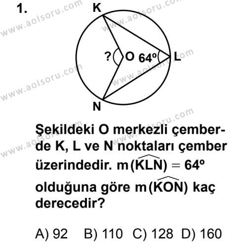 Geometri 2 Dersi 2012 - 2013 Yılı 3. Dönem Sınavı 1. Soru