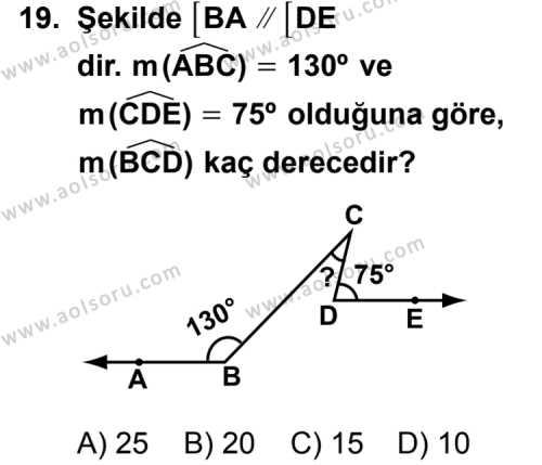 Geometri 3 Dersi 2011-2012 Yılı 1. Dönem Sınavı 19. Soru