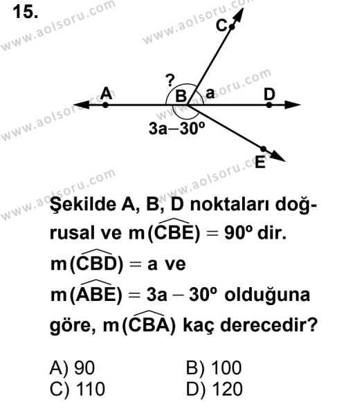 Geometri 3 Dersi 2012-2013 Yılı 1. Dönem Sınavı 15. Soru