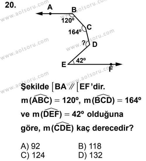 Geometri 3 Dersi 2012-2013 Yılı 1. Dönem Sınavı 20. Soru