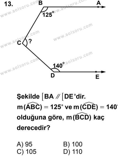 Geometri 3 Dersi 2013-2014 Yılı 1. Dönem Sınavı 13. Soru