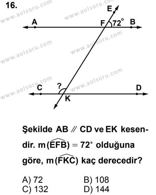 Geometri 3 Dersi 2013-2014 Yılı 1. Dönem Sınavı 16. Soru