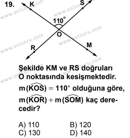 Geometri 3 Dersi 2014-2015 Yılı 1. Dönem Sınavı 19. Soru