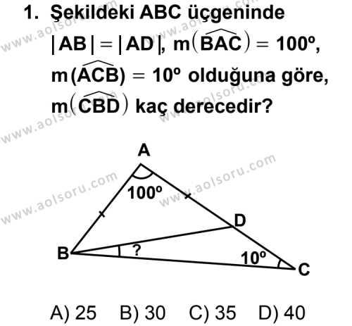 Geometri 4 Dersi 2011-2012 Yılı 1. Dönem Sınavı 1. Soru