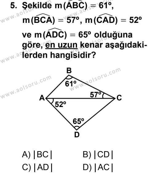 Geometri 4 Dersi 2011-2012 Yılı 1. Dönem Sınavı 5. Soru