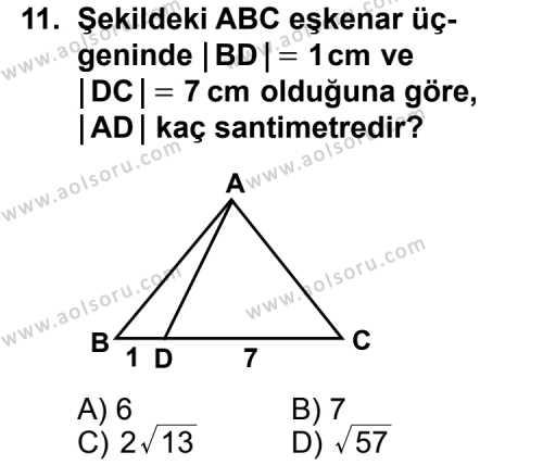 Geometri 4 Dersi 2011-2012 Yılı 1. Dönem Sınavı 11. Soru