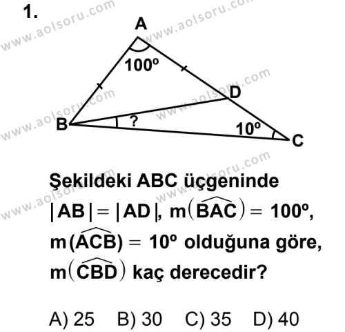 Geometri 4 Dersi 2011 - 2012 Yılı Ek Sınavı 1. Soru