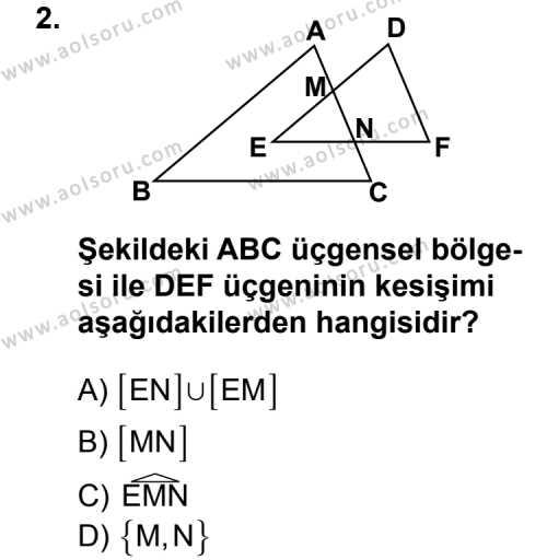 Geometri 4 Dersi 2011 - 2012 Yılı Ek Sınav Soruları 2. Soru