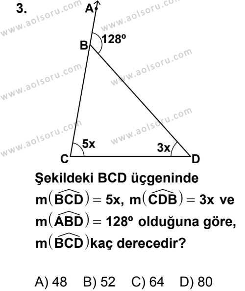 Geometri 4 Dersi 2011 - 2012 Yılı Ek Sınavı 3. Soru