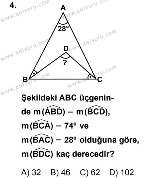 Geometri 4 Dersi 2011 - 2012 Yılı Ek Sınavı 4. Soru