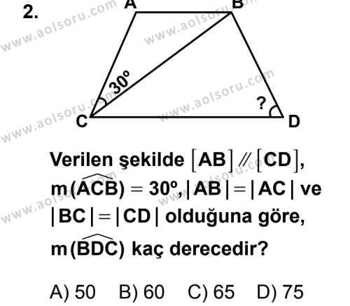Geometri 4 Dersi 2012-2013 Yılı 1. Dönem Sınavı 2. Soru