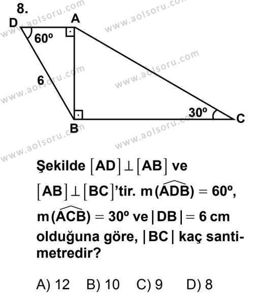 Geometri 4 Dersi 2012-2013 Yılı 1. Dönem Sınavı 8. Soru