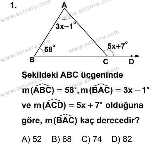 Geometri 4 Dersi 2013 - 2014 Yılı 1. Dönem Sınav Soruları 1. Soru