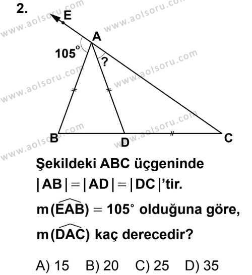 Geometri 4 Dersi 2013 - 2014 Yılı 1. Dönem Sınav Soruları 2. Soru