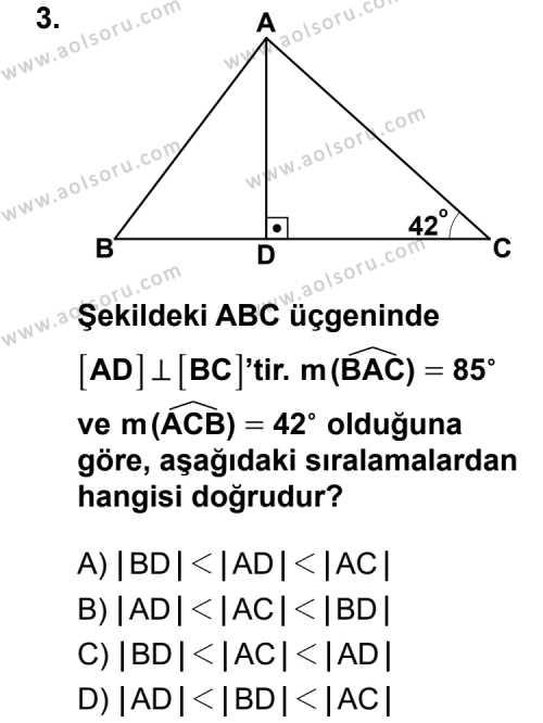 Geometri 4 Dersi 2013 - 2014 Yılı 1. Dönem Sınav Soruları 3. Soru