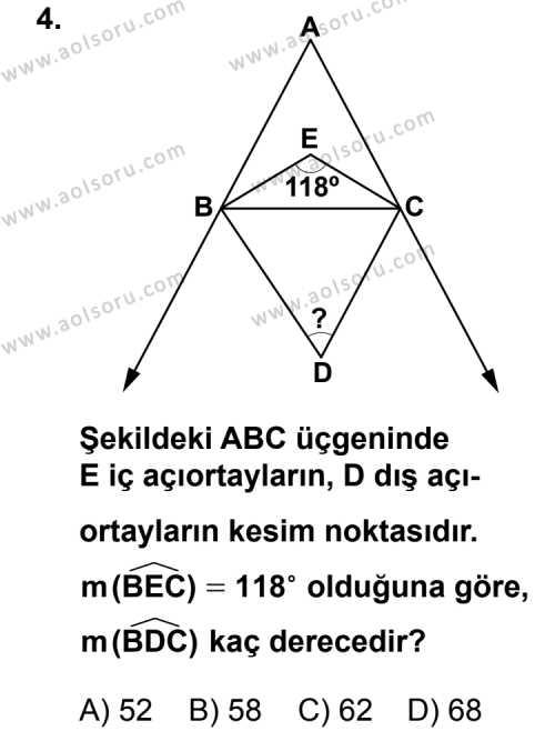 Geometri 4 Dersi 2013 - 2014 Yılı 1. Dönem Sınav Soruları 4. Soru