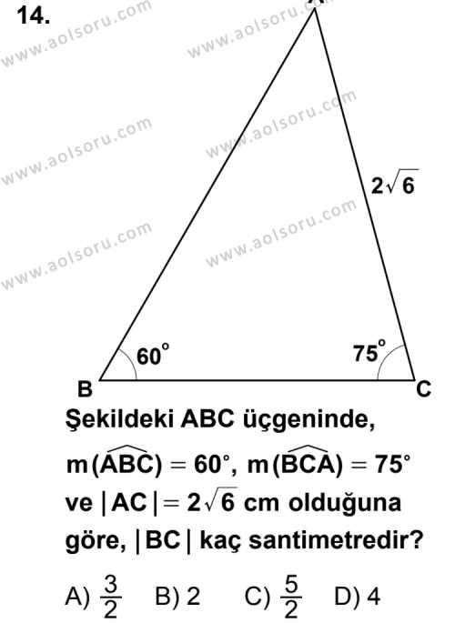 Geometri 4 Dersi 2013-2014 Yılı 1. Dönem Sınavı 14. Soru