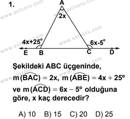 Geometri 4 Dersi 2013 - 2014 Yılı 2. Dönem Sınav Soruları 1. Soru