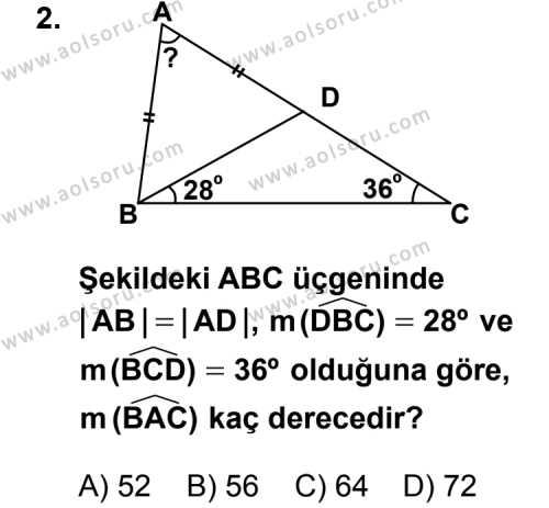 Geometri 4 Dersi 2013 - 2014 Yılı 2. Dönem Sınav Soruları 2. Soru