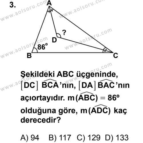 Geometri 4 Dersi 2013 - 2014 Yılı 2. Dönem Sınav Soruları 3. Soru