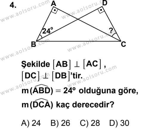 Geometri 4 Dersi 2013 - 2014 Yılı 2. Dönem Sınav Soruları 4. Soru