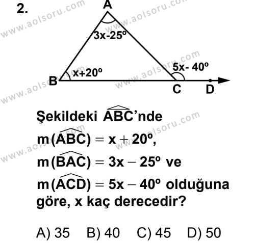Geometri 4 Dersi 2013 - 2014 Yılı 3. Dönem Sınav Soruları 2. Soru